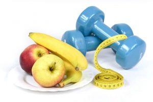 barbells, bananas, apples, and measuring tape